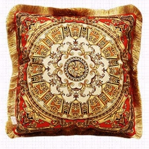"Luxury Tangerine Gold Flower Pillow Embellished With Trim 20""X20"""