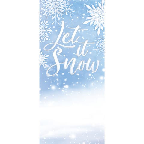 """80"""" x 36"""" White and Blue """"Let It Snow"""" Christmas Front Door Banner Mural Sign Decoration"""