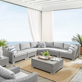 Link to Conway Sunbrella® Outdoor Patio Wicker Rattan 6-Piece Sectional Sofa Furniture Set Similar Items in Outdoor Sofas, Chairs & Sectionals