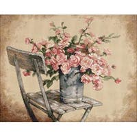 "Roses On White Chair Counted Cross Stitch Kit-14""X11"""