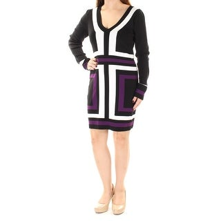INC Womens Black Striped Long Sleeve Scoop Neck Above The Knee Dress  Size: S