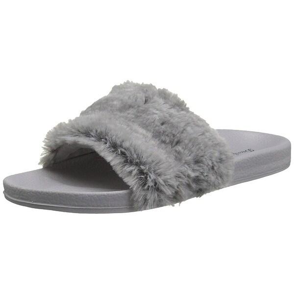 Dearfoams Womens molded footbed pile slide Open Toe Casual Slide Sandals