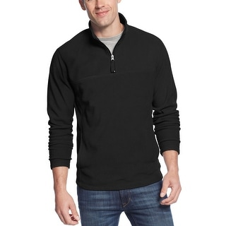 Club Room Deep Black Quarter-Zip Fleece Pullover Sweater Mockneck