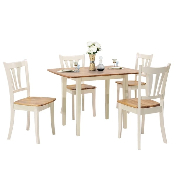 Shop Costway Extendable 5 Piece Wood Dining Table Set 4 ...