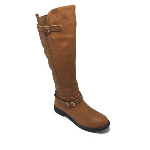 Ameta Brown Zipper Buckle Knee-High Riding Boots Women