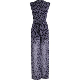 MICHAEL Michael Kors Womens Chiffon Printed Jumpsuit