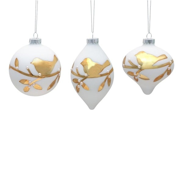 Pack of 6 White with Gold Bird and Faux Pearl Glass Christmas Ornaments