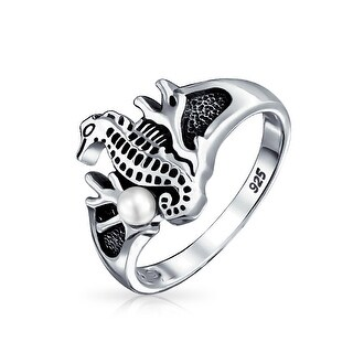 Bling Jewelry Seahorse Coral Imitation Pearl Ring Antiqued 925 Sterling Silver