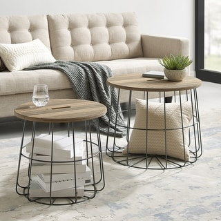 Link to Berwick Metal and Wood Basket Nesting Tables Similar Items in Living Room Furniture