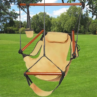 Well-equipped S-shaped Hook High Strength Assembled Hanging Seat Cacolet Brown - Weight Capacity: 250lb