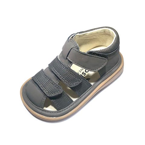 Mooshu Trainers Little Boys Charcoal Squeaky Henry Strap Sandals 6 Toddler - 6 Toddler