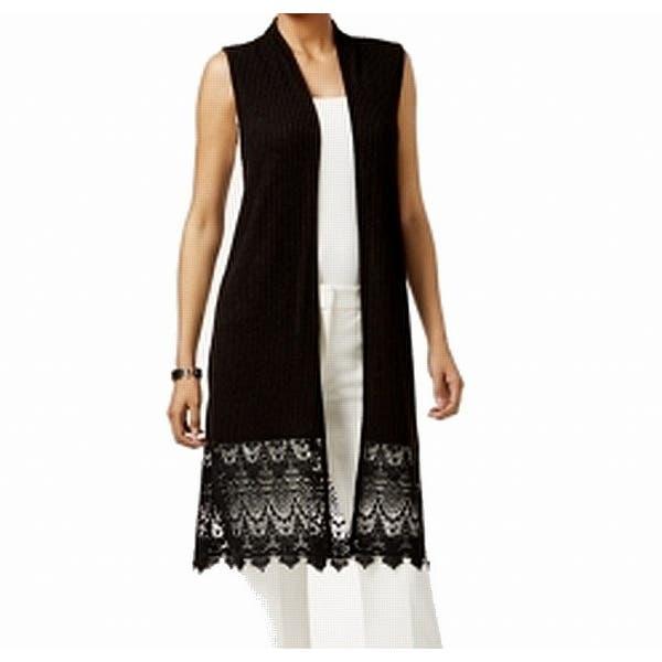 c657726a91c August Silk Black Womens Size Medium M Lace Hem Sleeveless Vest