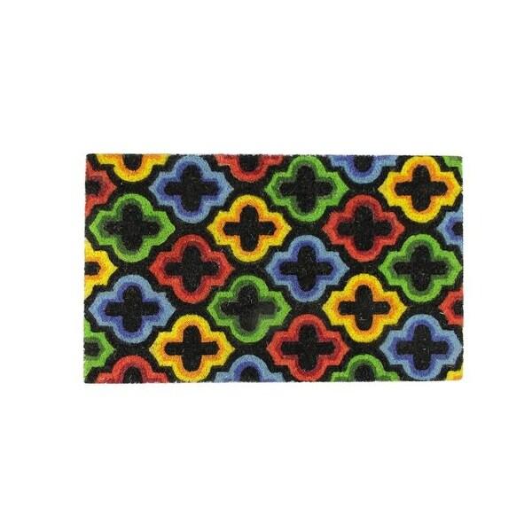 "Decorative Multi-Color Retro Coir Outdoor Rectangular Door Mat 29.5"" x 17.75"""
