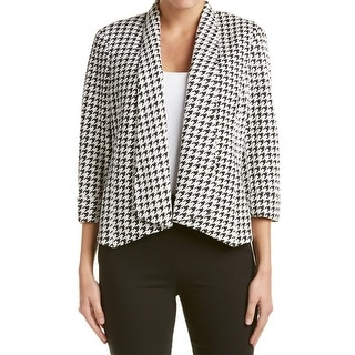Kasper NEW White Women's Size 10 Houndstooth Print Open Front Jacket