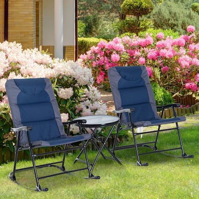Outsunny 3PCS Folding Rocking Chair Set with Padded, Round Glass Table for Outdoor Backyard Patio