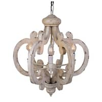Distressed Antique White 6-Light Wood Chandelier