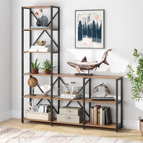 Industrial 9 Shelves Bookshelves Ladder Corner Etagere Bookcase