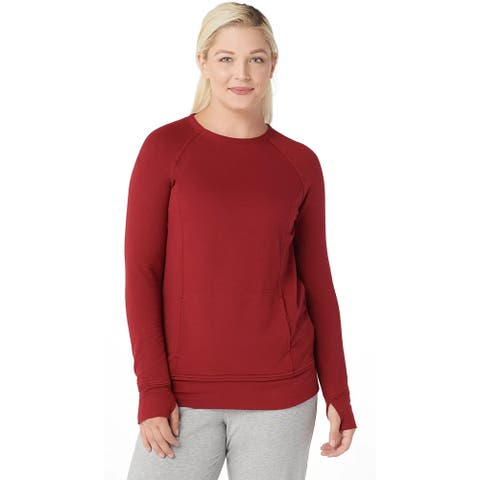 Cuddl Duds Womens Comfortwear Raglan Sleeve Pullover Top Small Chili Red A368068
