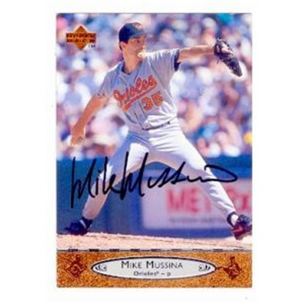 Mike Mussina Autographed Baseball Card Baltimore Orioles 1996 Uppe