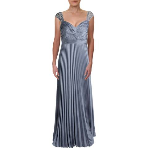 Aidan Mattox Womens Formal Dress Embellished Satin - Silver