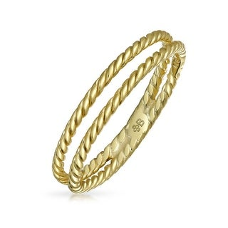 Gold Plated 925 Silver Double Row Twisted Cable Midi Ring