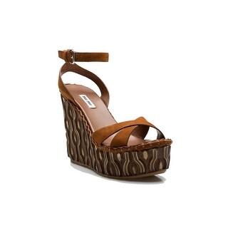 Miu Miu Women's Wood Textured Adjustable Strap High Heel Platform Shoes Brown