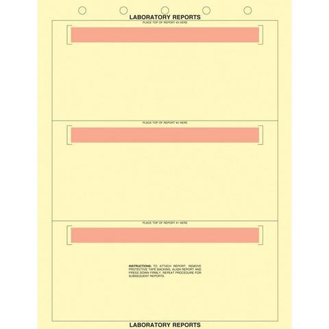 """8-1/2"""" x 11"""" Canary Laboratory Report Sheets, 5 Hole Punch, Horizontal Adhesive Strips, Fits 3 Reports (500 per Box)"""