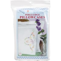 Stamped Pillowcases W/White Perle Edge 2/Pkg-Praying Hands - White