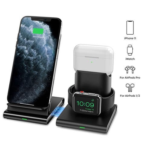 Seneo 3 in 1 Wireless Charger Apple Watch and AirPods Charging Station iWatch & EarPod Charging Dock 7.5W Fast Charging