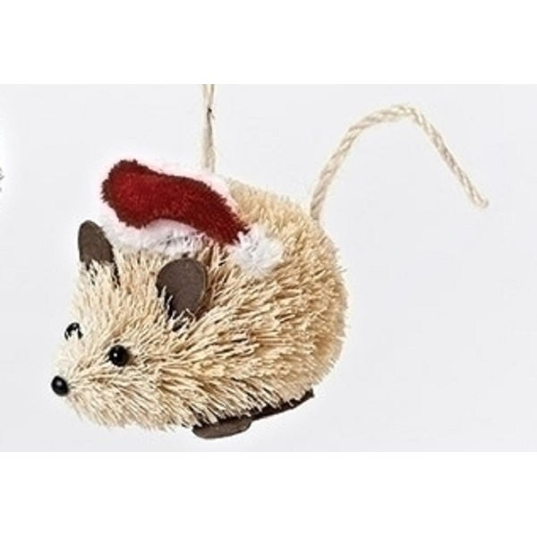 3.5 Tan Sisal Mouse in Red Santa Hat Decorative Christmas Ornament