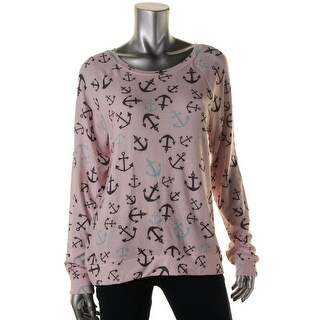 Gold Rush Womens Juniors Knit Long Sleeves Pullover Top - L