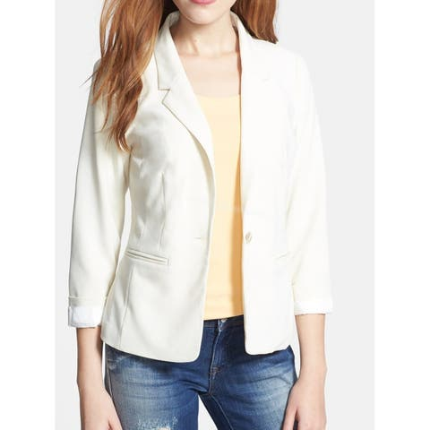 Kensie White Ivory Womens Size Small S One Button Slit Pocket Jacket
