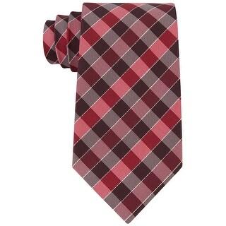 Geoffrey Beene NEW Dark Red Men's Slim Effortless Gingham Neck Tie