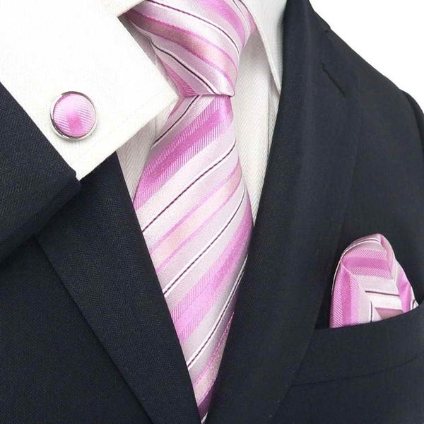 Men's Pink Stripes 100% Neck Tie Set With Hanky 1838E - regulr