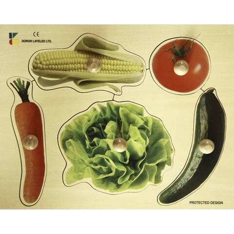 Edushape Large Knob Puzzle, Vegetables Theme, 5 Pieces