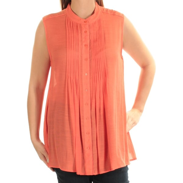 0800735903c48 Shop ALFANI Womens Orange Sleeveless Crew Neck Button Up Top Size  14 - On  Sale - Free Shipping On Orders Over  45 - Overstock.com - 23451055