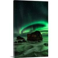 Ajit Menon Premium Thick-Wrap Canvas entitled Aurora, Uttakleiv