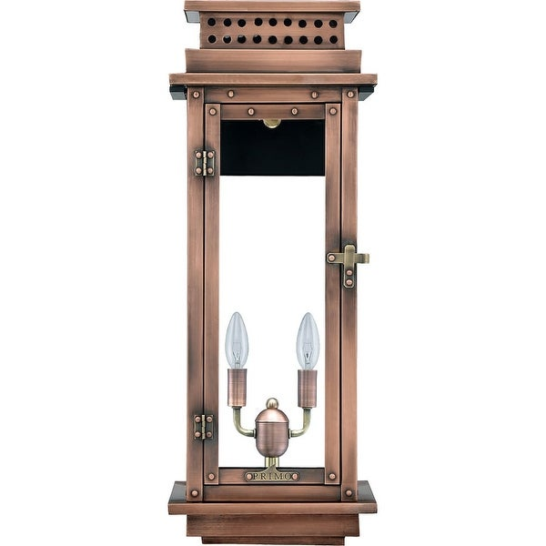 """Primo Lanterns NV-22E Nouveau 15"""" Wide 2-Light Outdoor Wall-Mounted Lantern in Electric Configuration - Copper - n/a"""