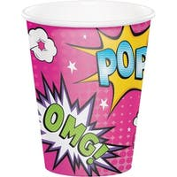 Club Pack Of 96 Pink And Yellow Disposable Girl Super Hero Hot/cold Cups 5.6""