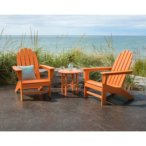 POLYWOOD Vineyard 3-piece Outdoor Adirondack Chair and Table Set