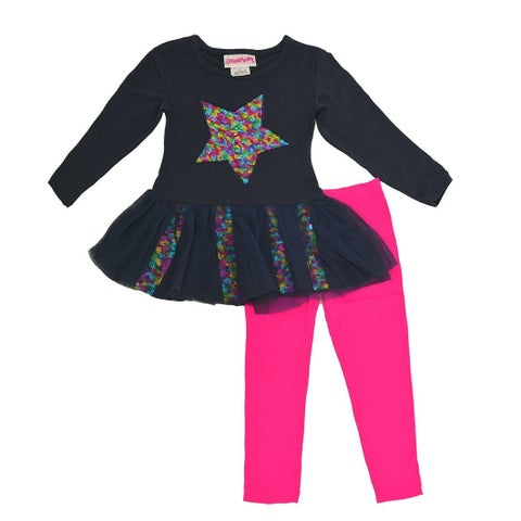 Flapdoodles Little Girls Navy Multi Color Sequin Heart 2 Pc Legging Set