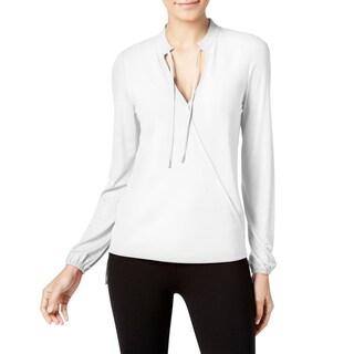 MICHAEL Michael Kors Womens Petites Blouse Crossover Tie-Front - pm