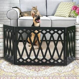 Etna 3-Panel Diamond Design Wood Pet Gate - Decorative Tri Fold Dog Fence - Black - 19 in. x 48 in. x 1.5 in.