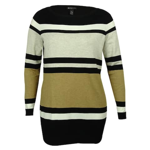 INC Women's Striped Crewneck Sweater - Black/Bisque/Heather Sand - 0X