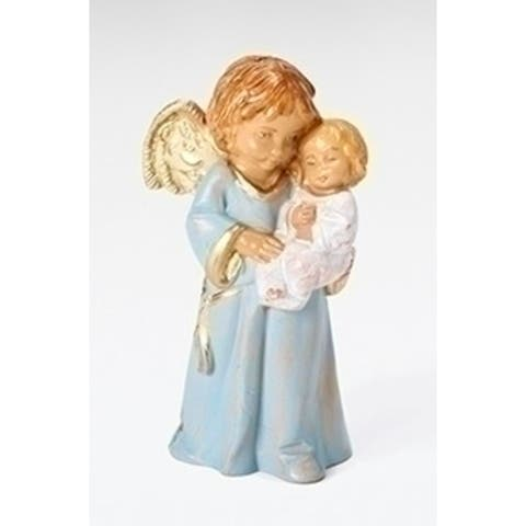 """3"""" Brown and Blue """"Bless this Child"""" Angel Boy's Christmas Figurine"""