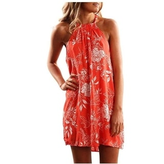 Women Beach Dress Summer Casual Spaghetti Strap Sundress Sleeveless Beach Dress 220615