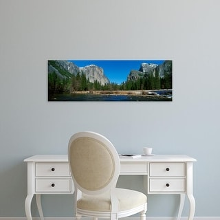 Easy Art Prints Panoramic Image 'El Capitan Mountain, The Merced River, Yosemite National Park, California' Canvas Art