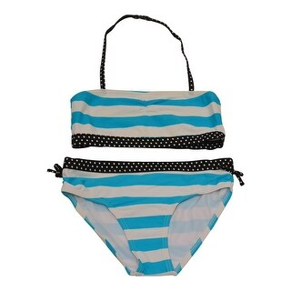 Starfish Big Girls Blue White Stripe Print Bandeau 2 Pc Bikini Swimsuit
