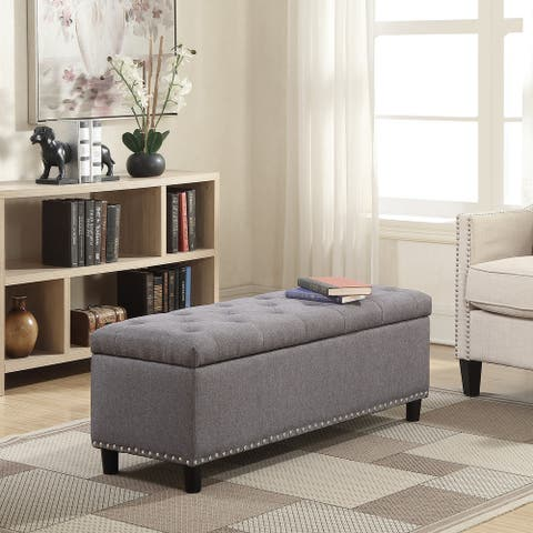 Belleze Upholstered Rectangular Storage Ottoman Bench - standard