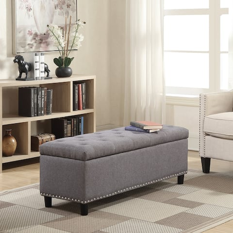 "Belleze 48"" Rectangular Faux Leather Linen Storage Ottoman Bench - standard"